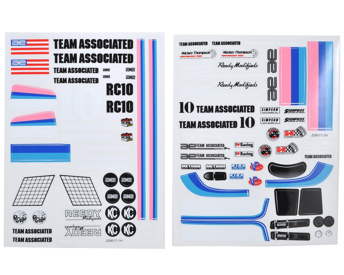 Team Associated RC10 Classic Decal Sheet