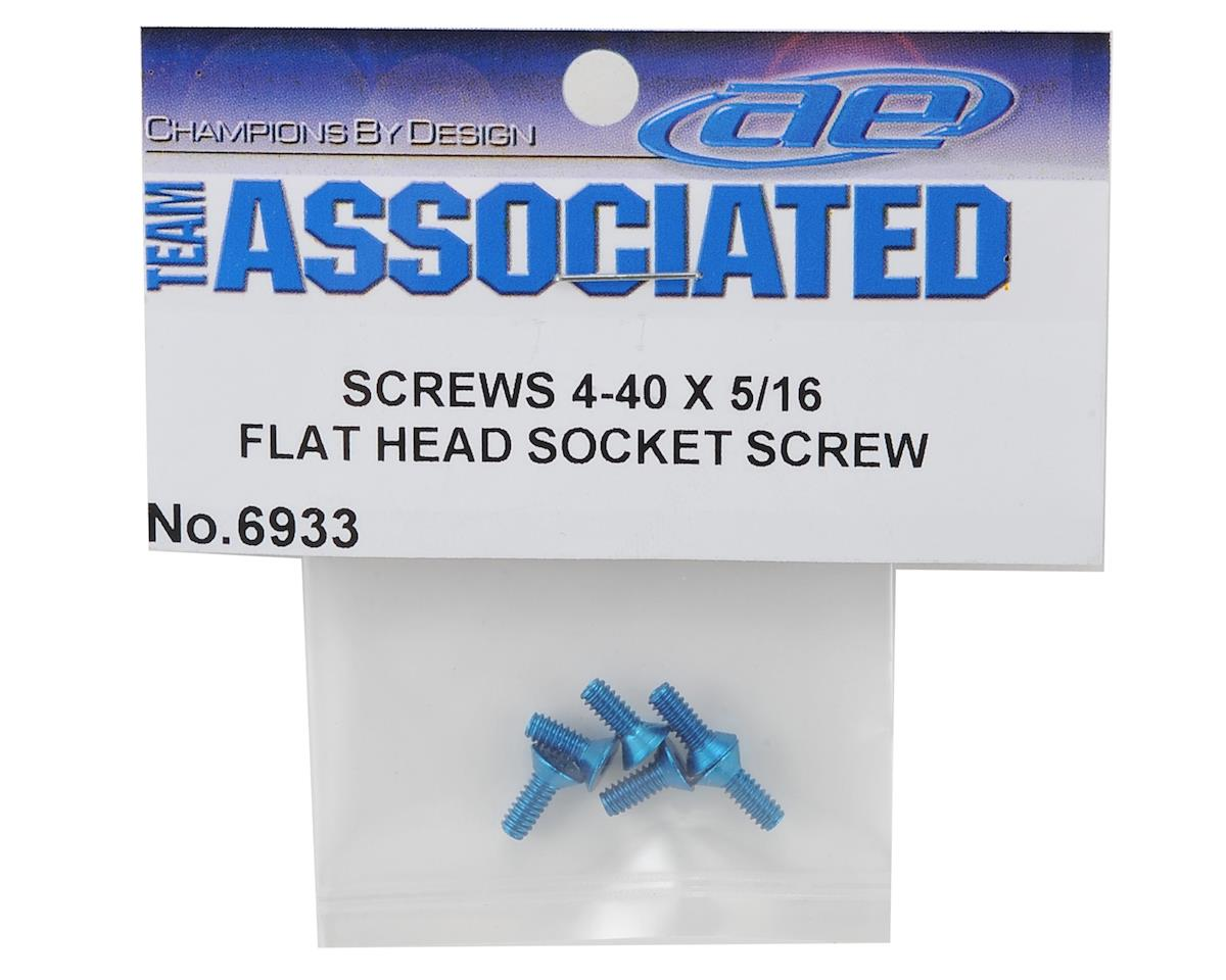 "Team Associated 4-40 x 5/16"" Aluminum Flat Head Hex Screw (Blue) (6)"