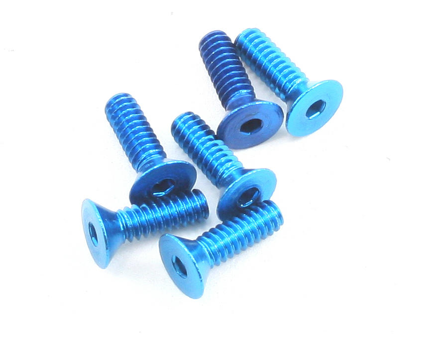 Team Associated Aluminum Flat Head Hex Screw (6) (Blue)