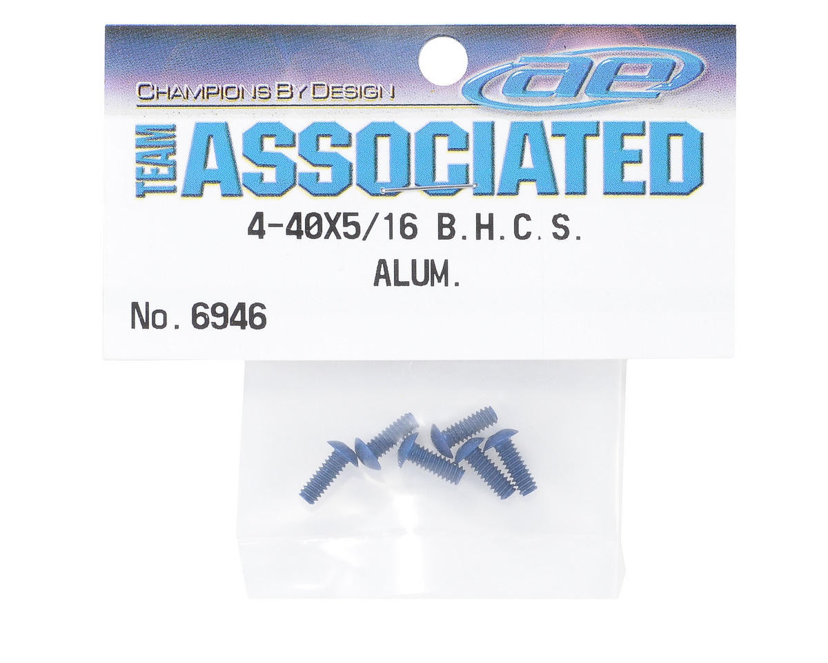 "4-40x5/16"" Button Head Cap Screw (Blue) (6) by Team Associated"