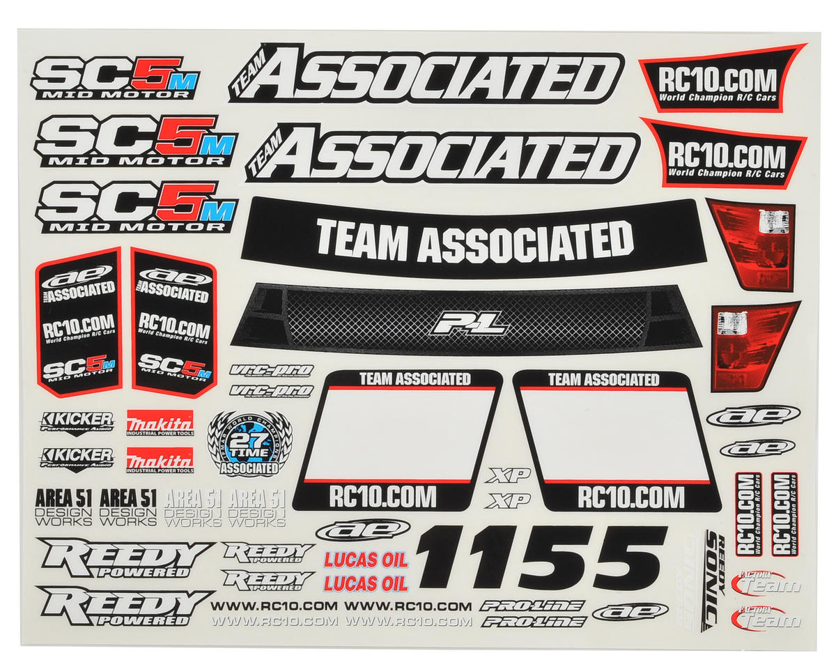 Team Associated SC5M Decal Sheet