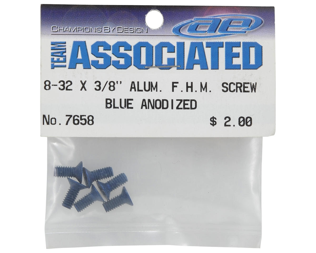 Team Associated RC10B3 8-32x3/8 Aluminum Flat Head Phillips Screw Set (6) (Blue)