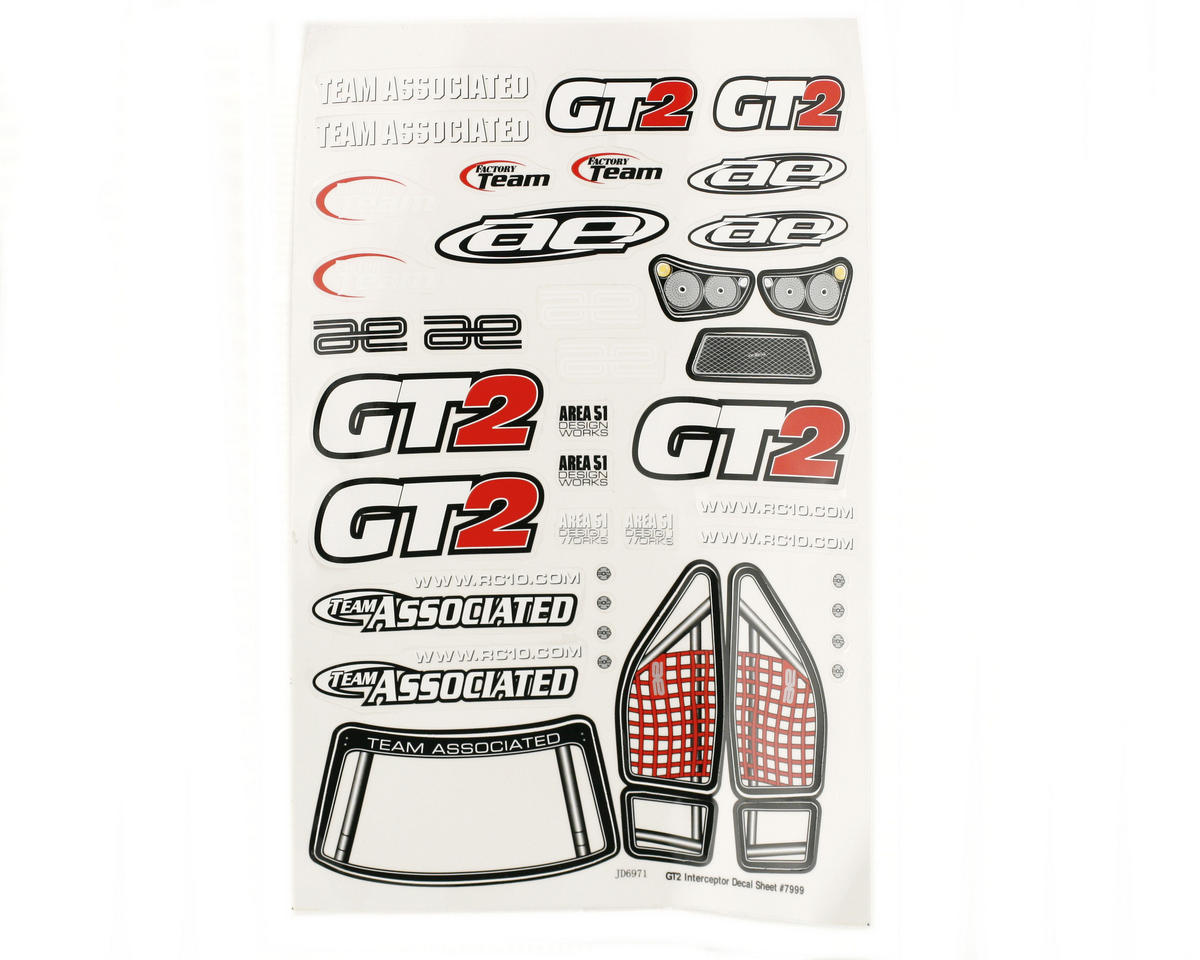 Team Associated GT2 Decal Sheet