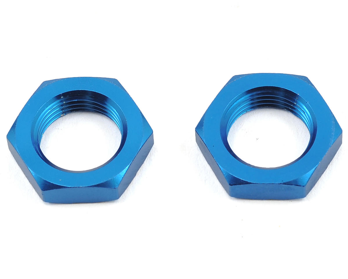 Team Associated RC8B3.1e 17mm Aluminum Serrated Wheel Hex Nut (Blue) (2)