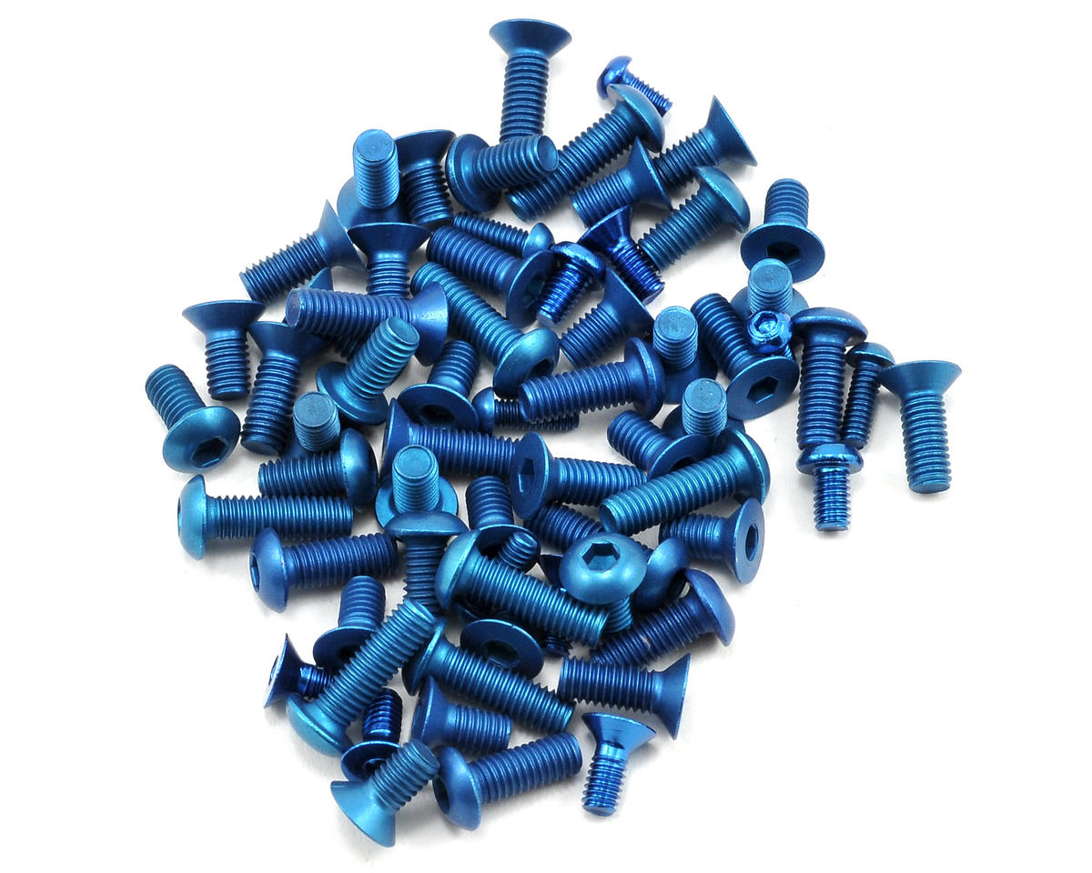 Team Associated Factory Team Aluminum Screw Kit (Blue) (12R5/R5.1)