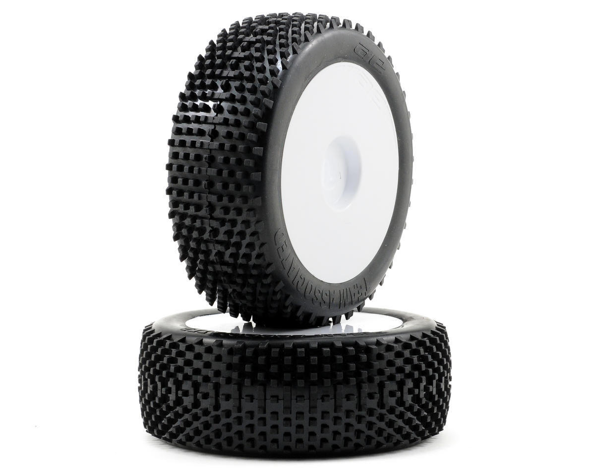 Team Associated Pre-Glued Tire w/White Wheel (2)