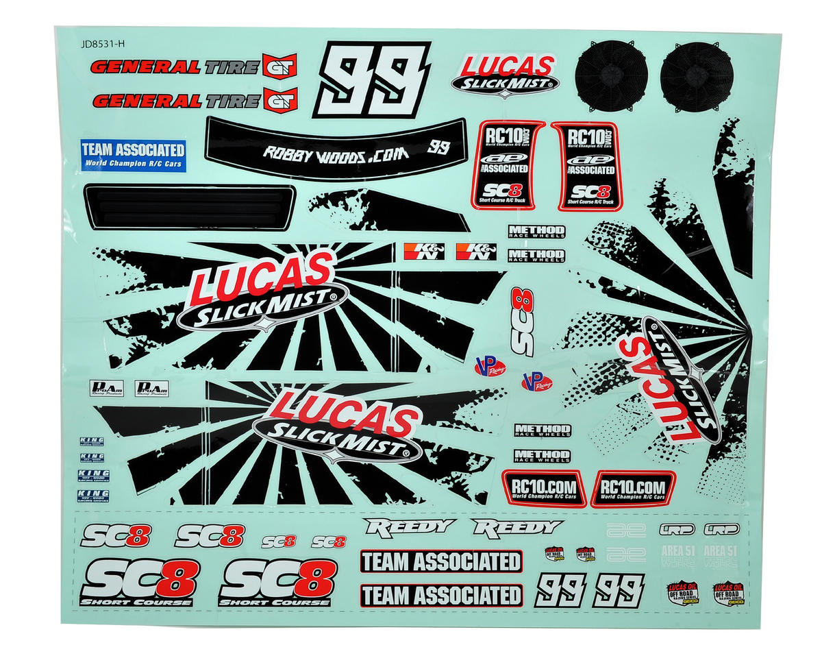 Team Associated SC8 Slick Mist Decal Sheet