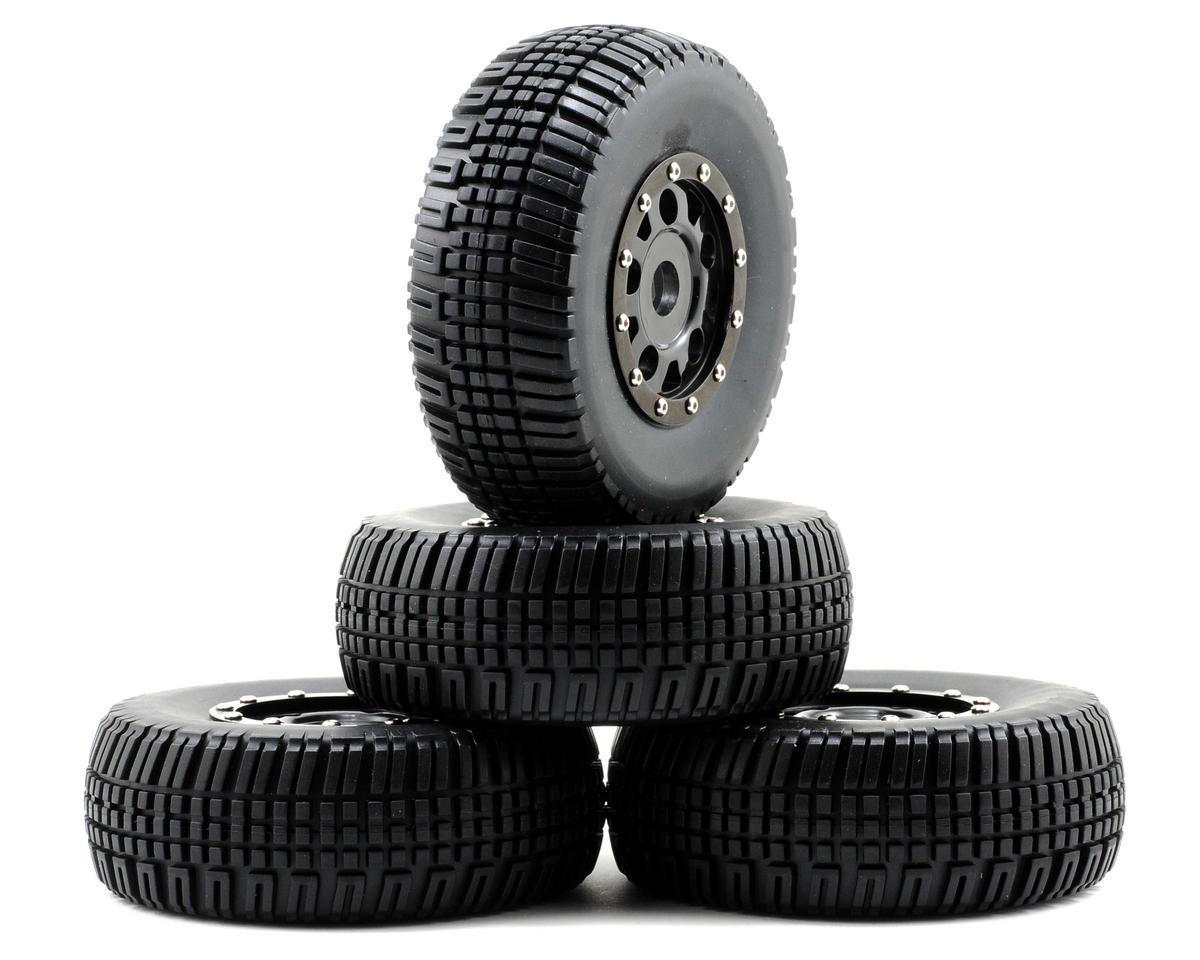 Team Associated KMC Assembled Tire w/Black Wheels & Beadguards (4)