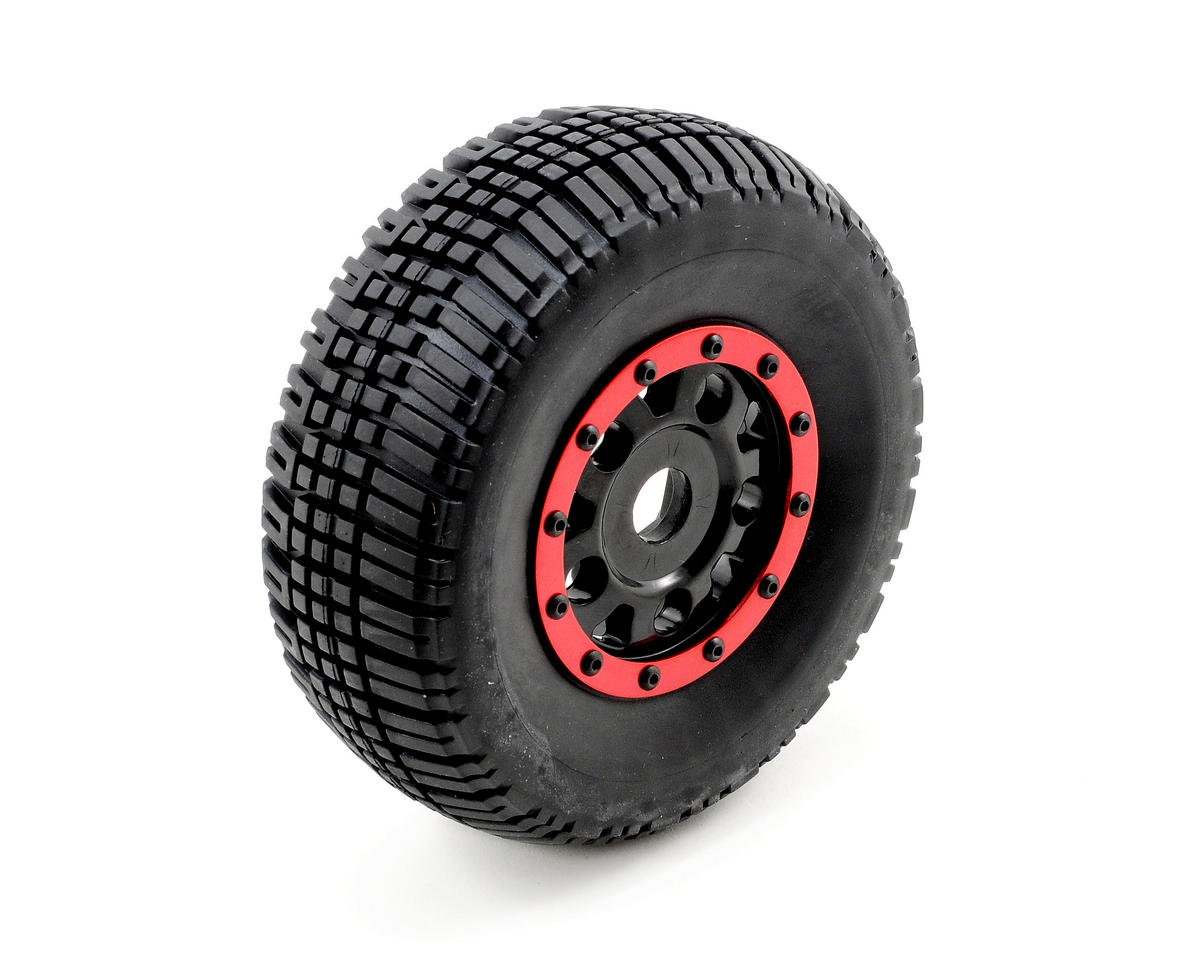 Team Associated SC8 KMC Assembled Tire w/Black Wheel & Red Bead Guard (4)