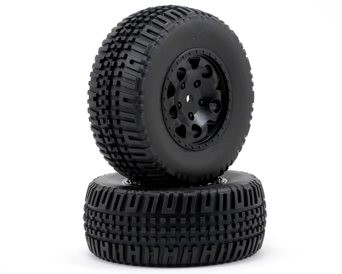 Team Associated SC10 4x4 12mm Hex KMC Tire/Wheel Combo (2) (Black)