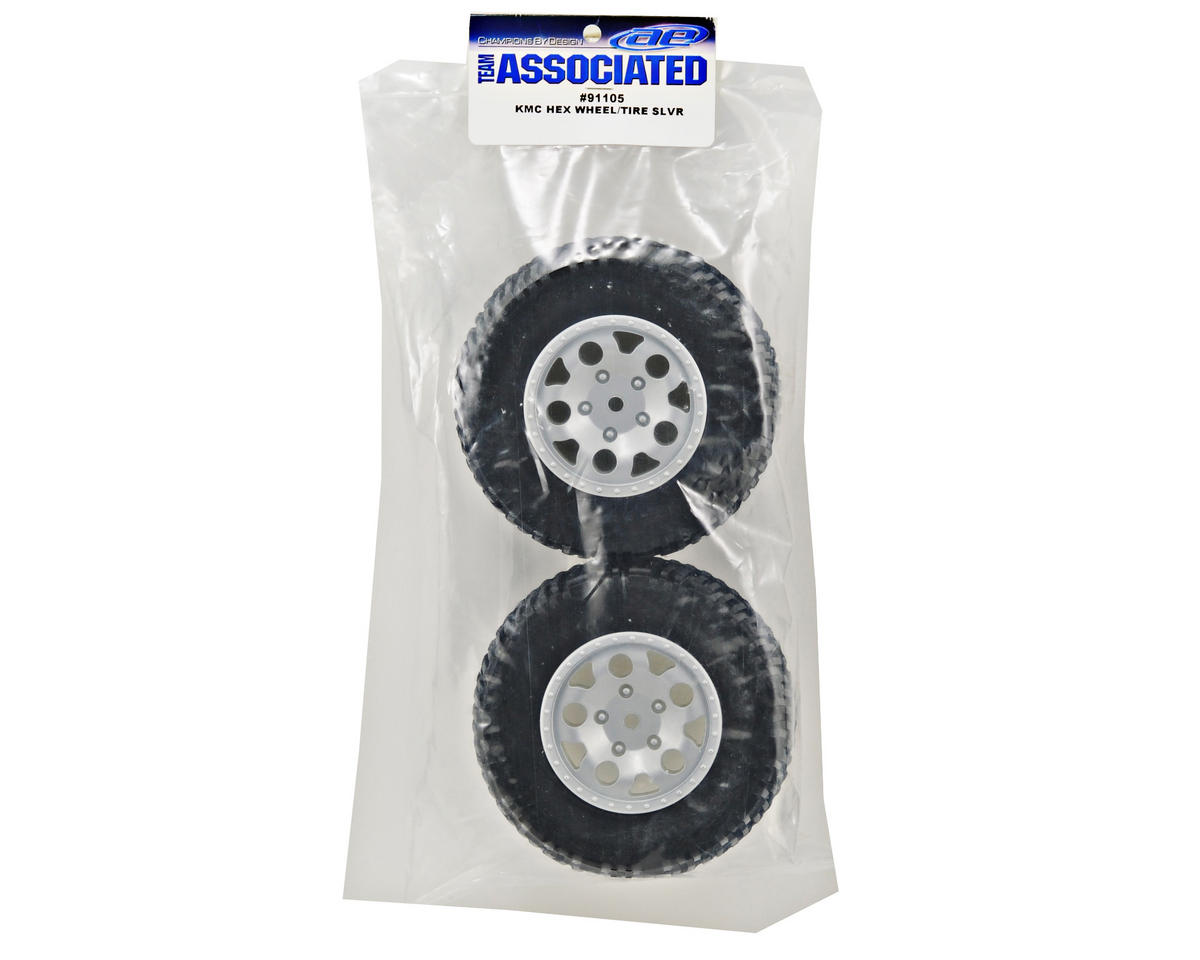 Team Associated 12mm Hex KMC Tire/Wheel Combo (2) (Silver)