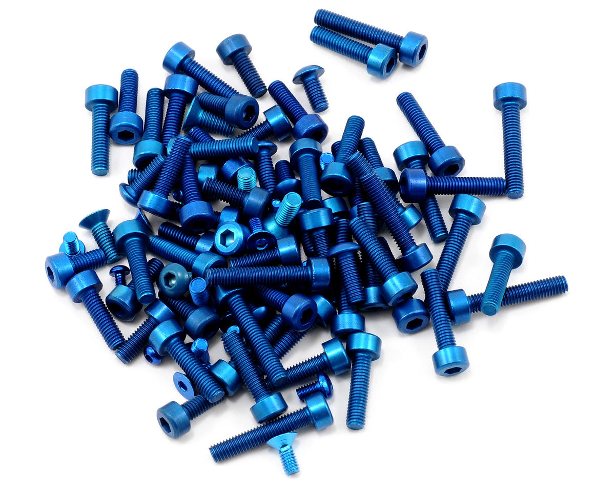 Team Associated Factory Team Aluminum Screw Kit (Blue) (SC10 4X4)