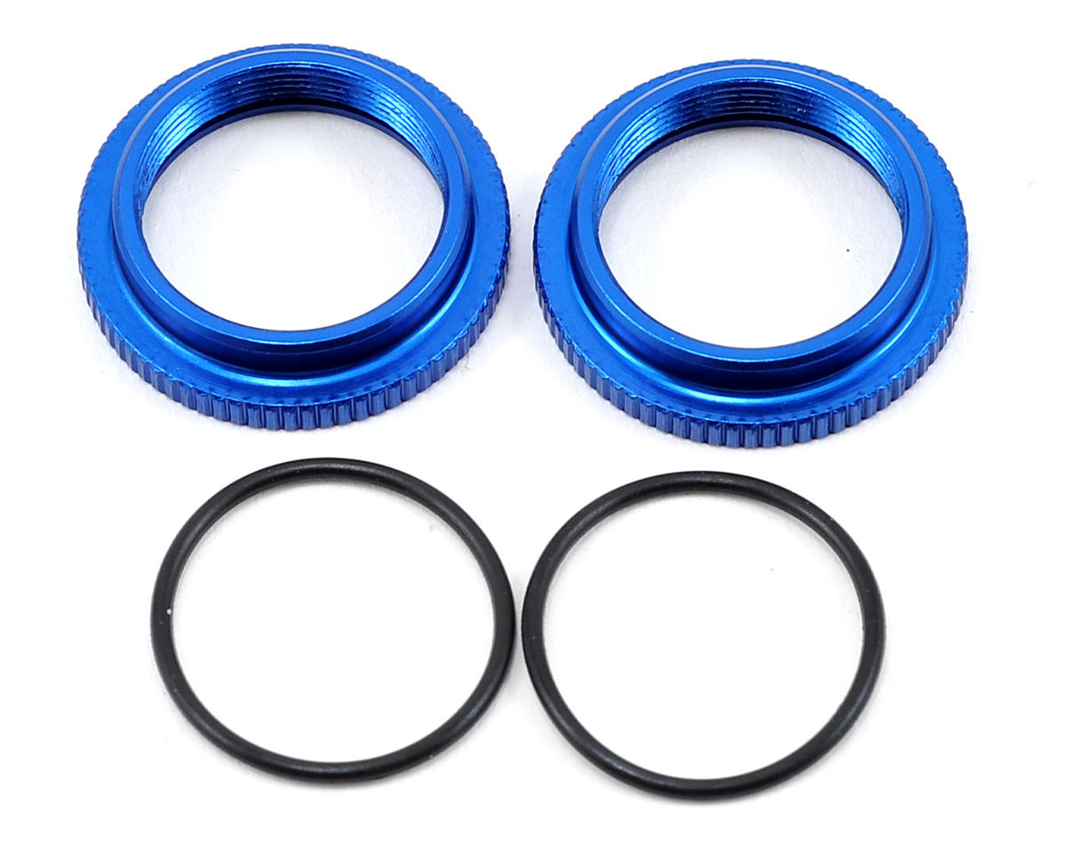 Team Associated 12mm Big Bore Threaded Collar (Blue) (2)