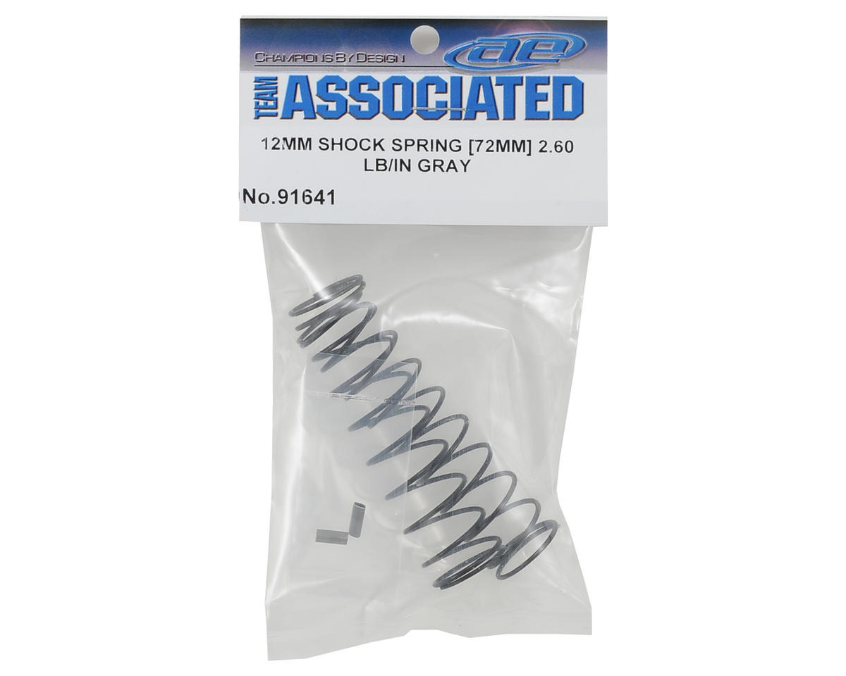 Team Associated 12mm Rear Shock Spring (2) (Gray/2.60lbs) (72mm Long)