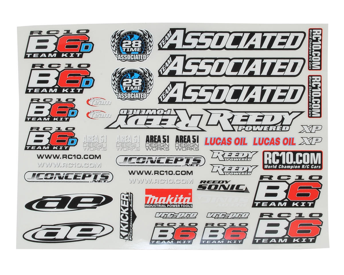 B6 Decal Sheet by Team Associated