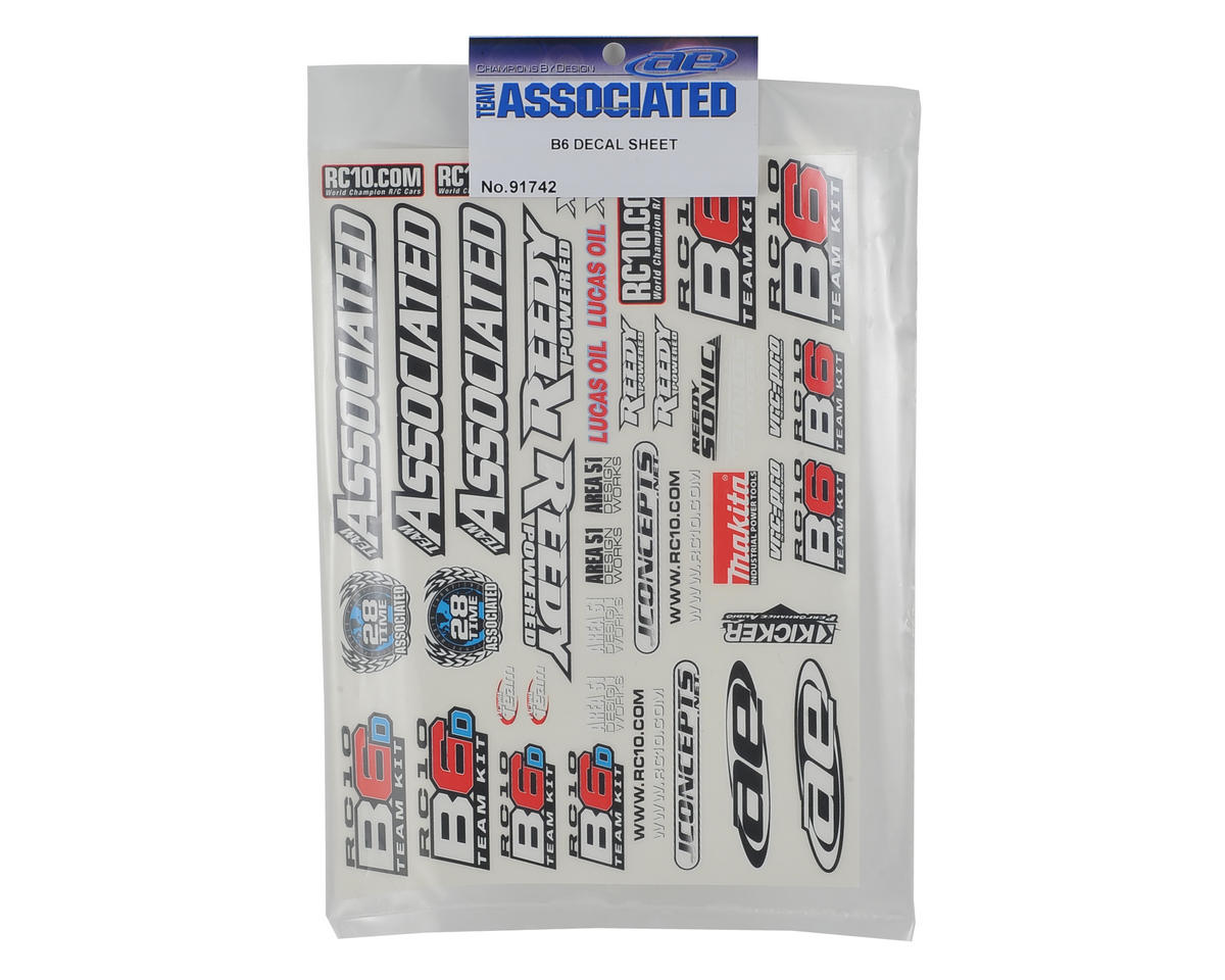Team Associated B6 Decal Sheet