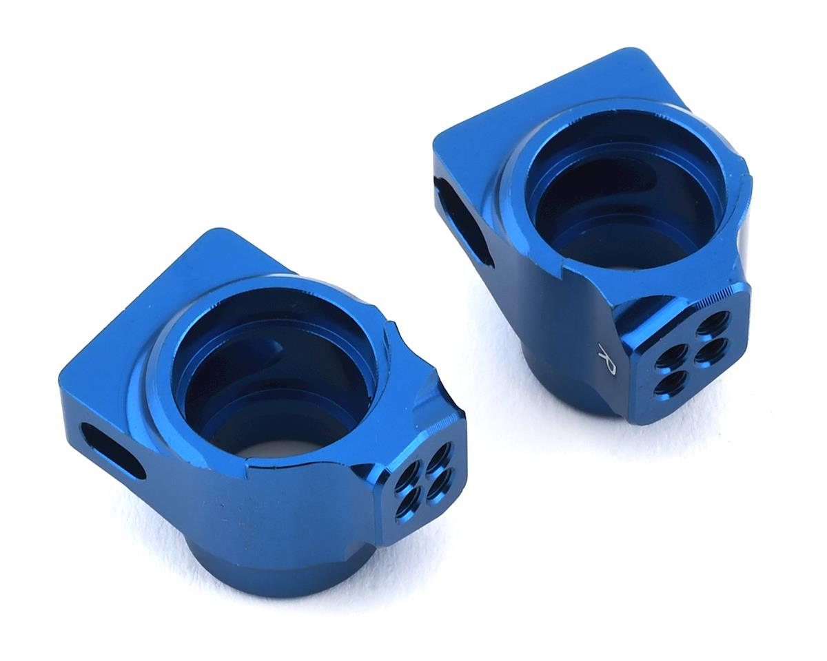B6/B6D Factory Team Aluminum Rear Hub Set (Blue) by Team Associated