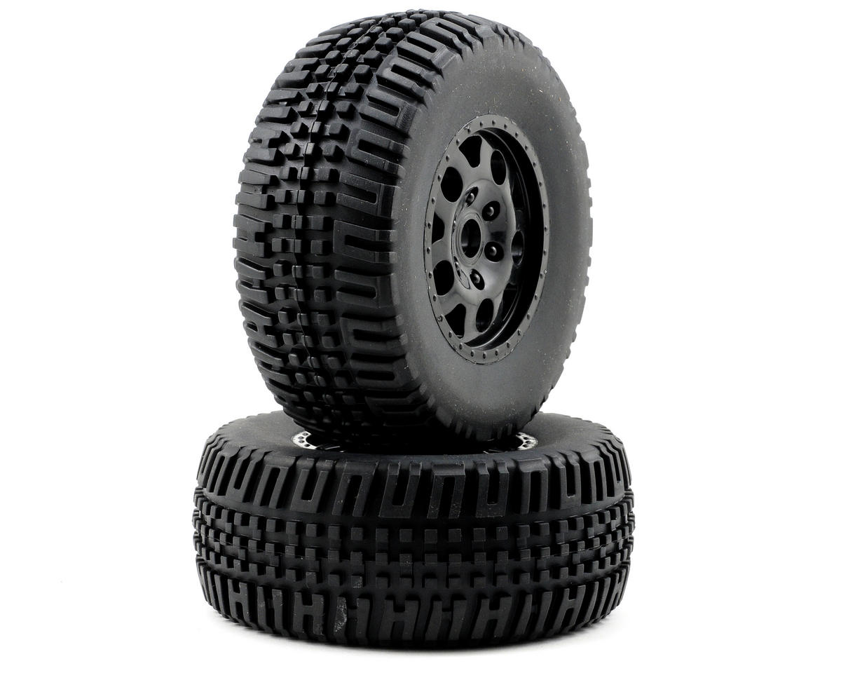 Team Associated Assembled Front SC10 Tire (Black) (2)