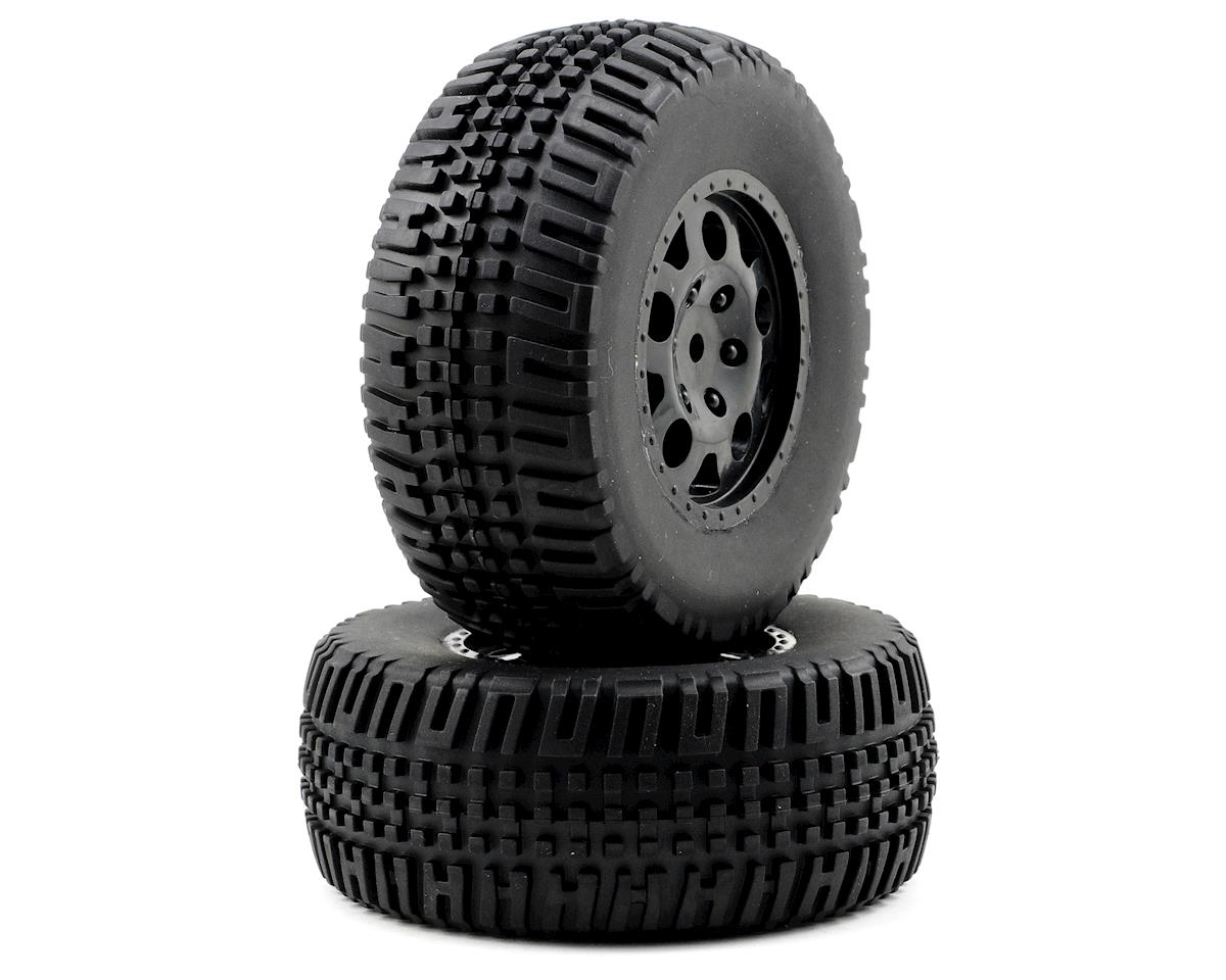 Team Associated KMC Rear Tire/Wheel Combo (2) (Black) (Not Hex)