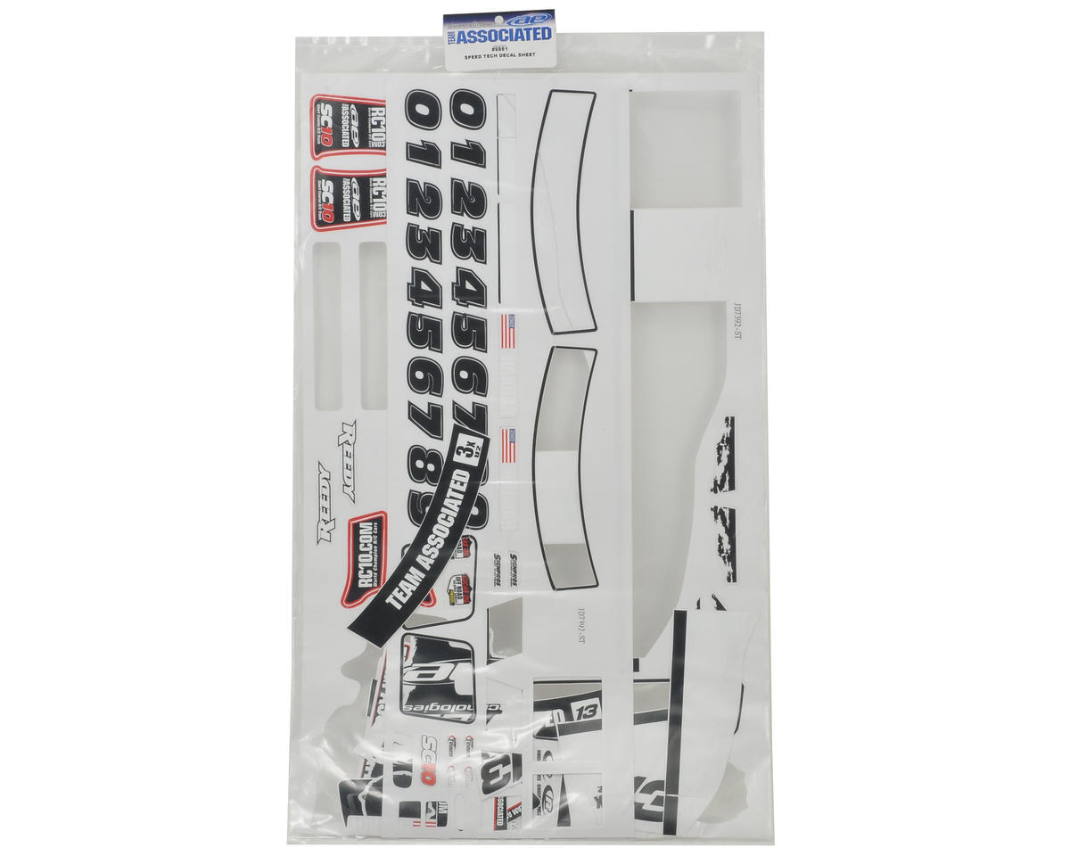 "Team Associated ""09 Speed Technologies"" Decal Sheet (SC10)"