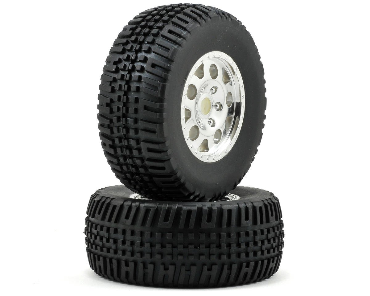 Team Associated KMC Front Tire/Wheel Combo (2) (Chrome)