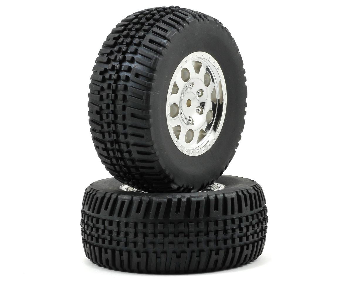 Team Associated KMC Rear Tire/Wheel Combo (2) (Chrome)
