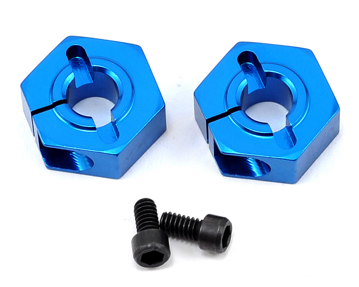 Team Associated 12mm Aluminum Front Clamping Wheel Hex Set (Blue) (2)