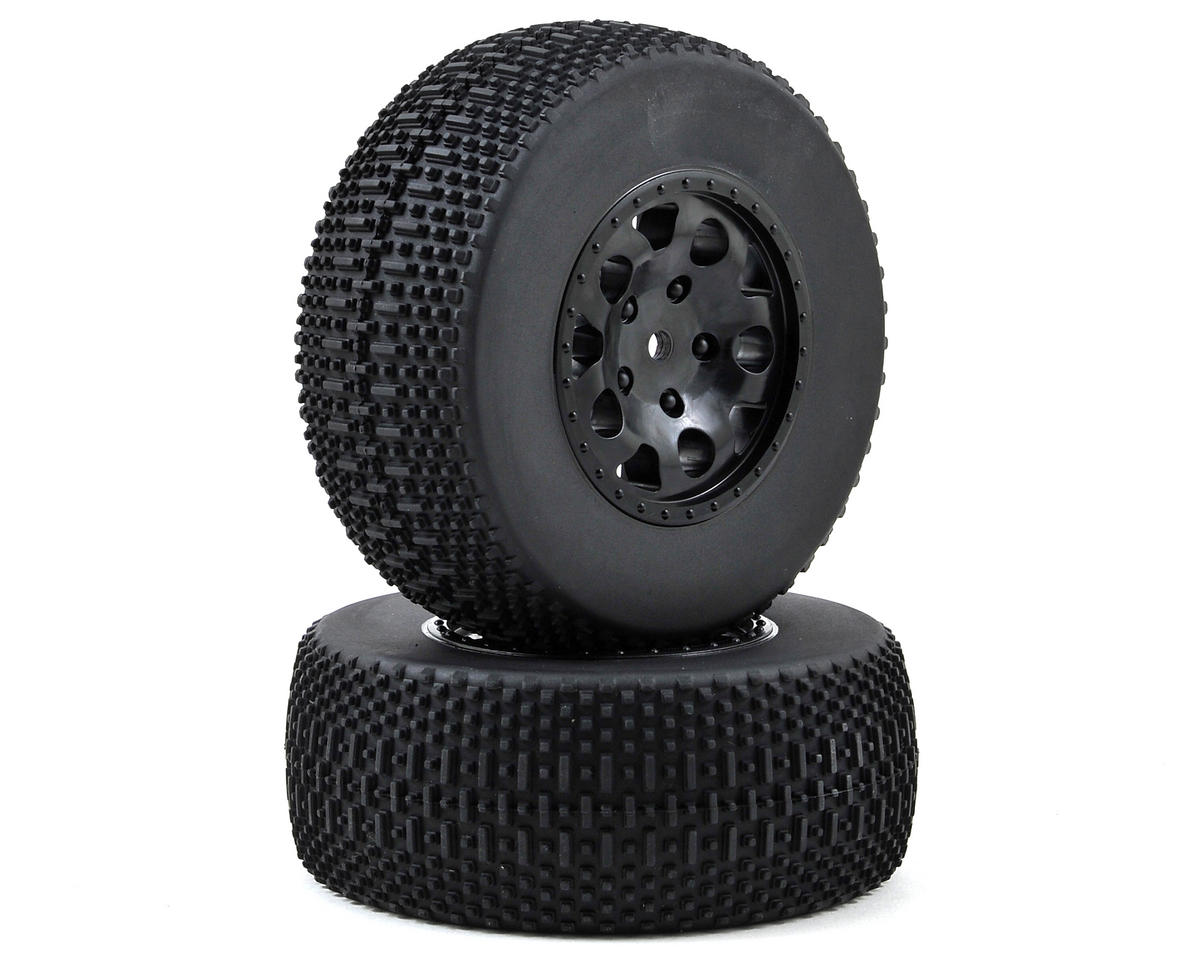 12mm Hex Pre-Mounted KMC SC Tire & Wheel (2) (Black) by Team Associated