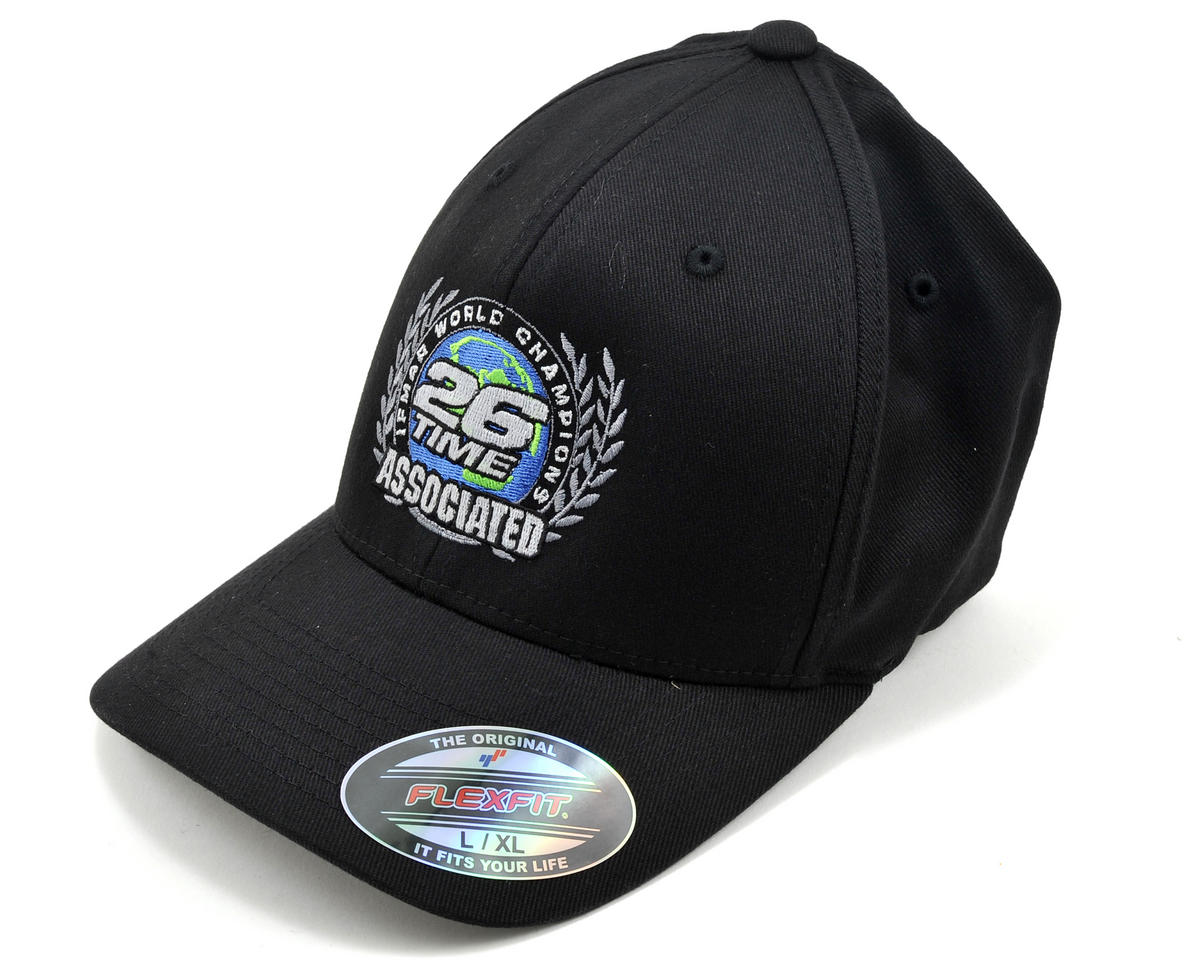 Team Associated Black 26 Time World Championship FlexFit Cap (L/XL)