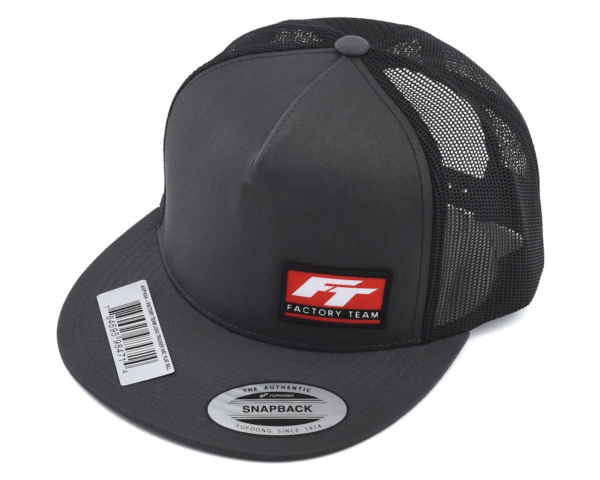"Team Associated Factory Team Logo ""Flatbill"" Trucker Hat (Black/Grey) (One Size Fits Most)"
