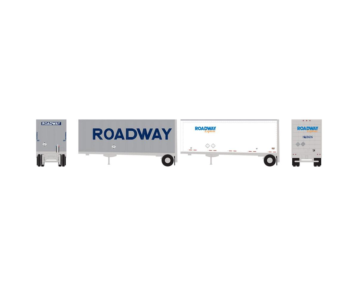 Athearn N 28' Trailers w/Dolly, Roadway/Express (2)