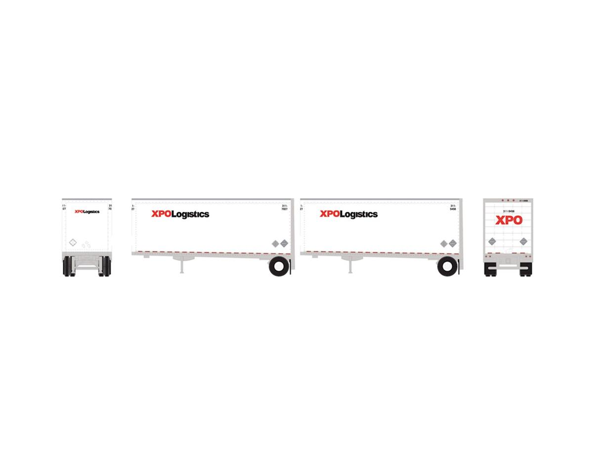 Athearn N 28' Trailers w/Dolly, XPO (2)