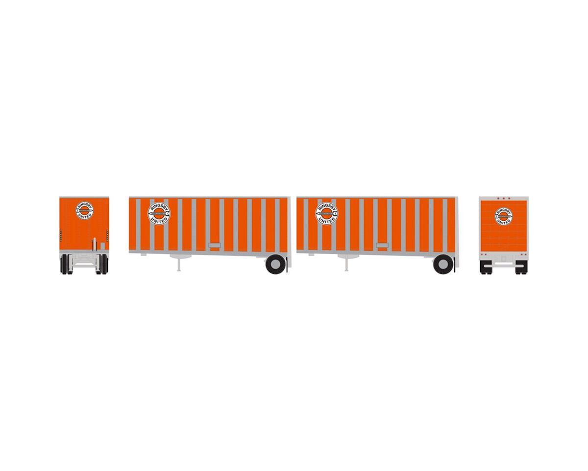 Athearn N RTR 28' Trailer w/Dolly, Ringsby (2)