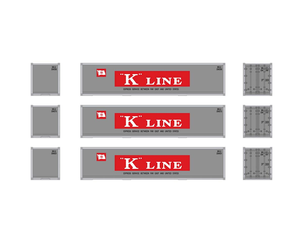 Athearn HO RTR 40' Smooth Containers, K-Line (3)