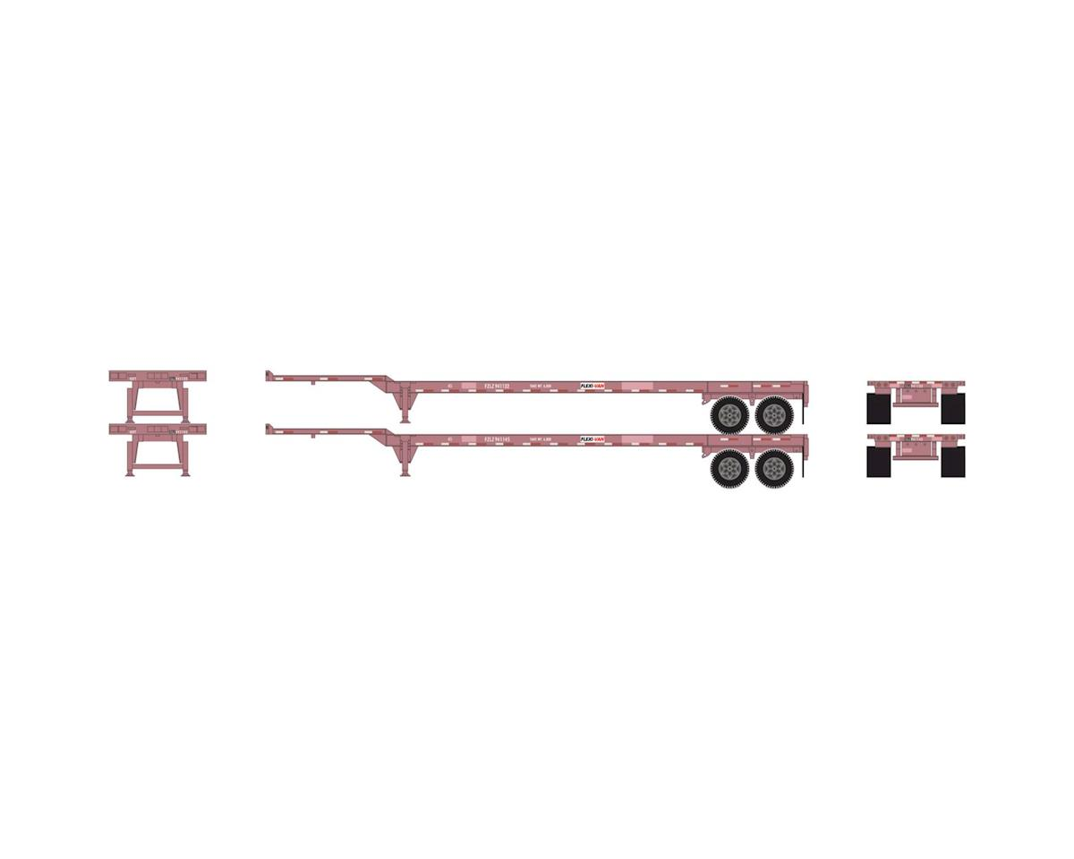 Athearn HO RTR 45' Container Chassis, Brown/ Flexi/Van (2)