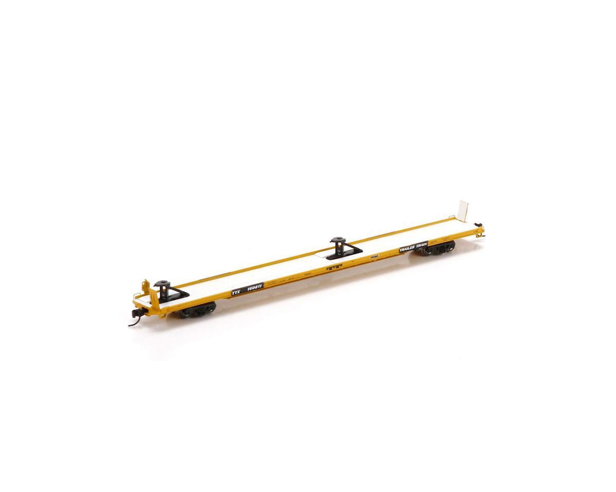 """Athearn N F89-F89'8"""" TOFC Flat Car, TTX/Yellow #150611"""