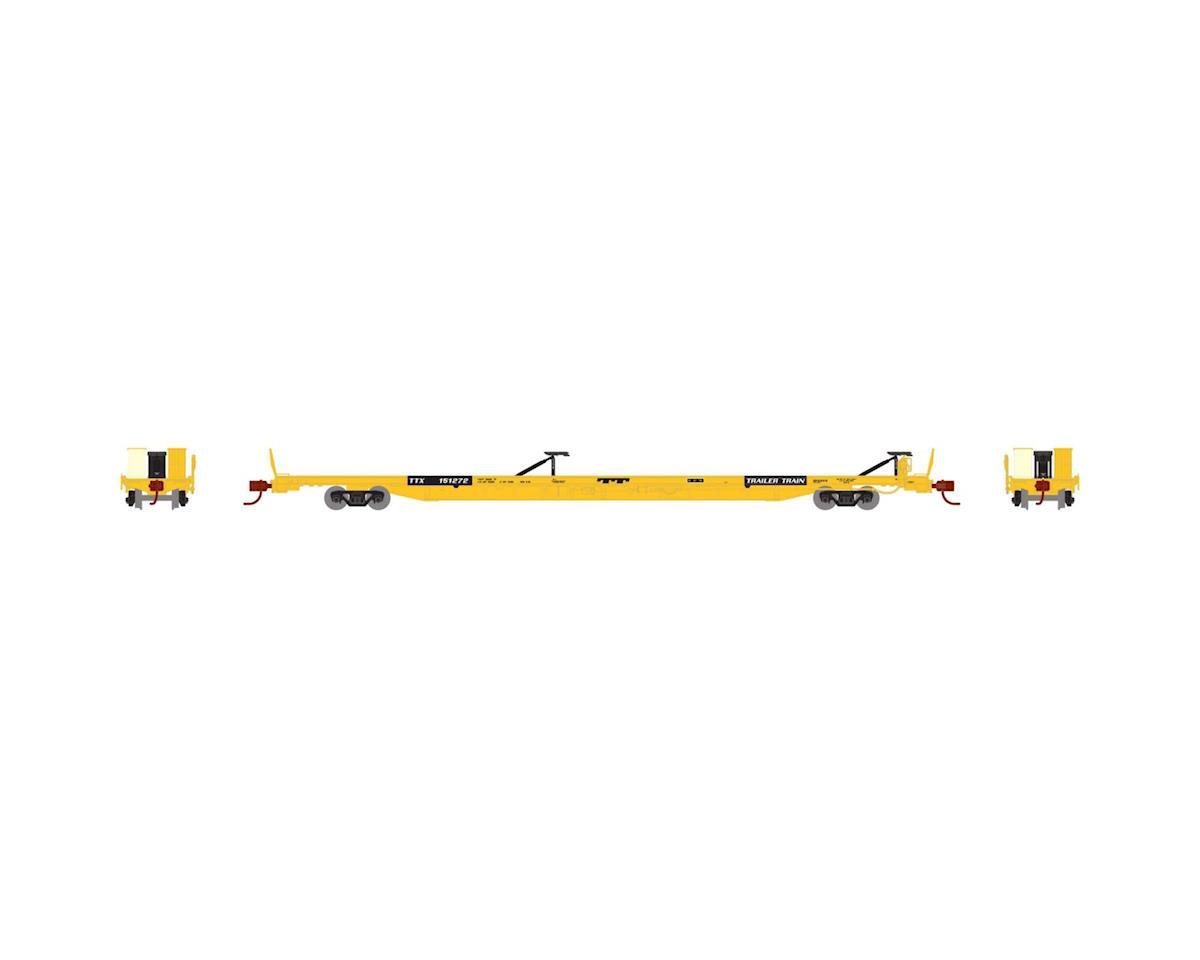 """Athearn N F89-F89'8"""" TOFC Flat Car, TTX/Yellow #151272"""