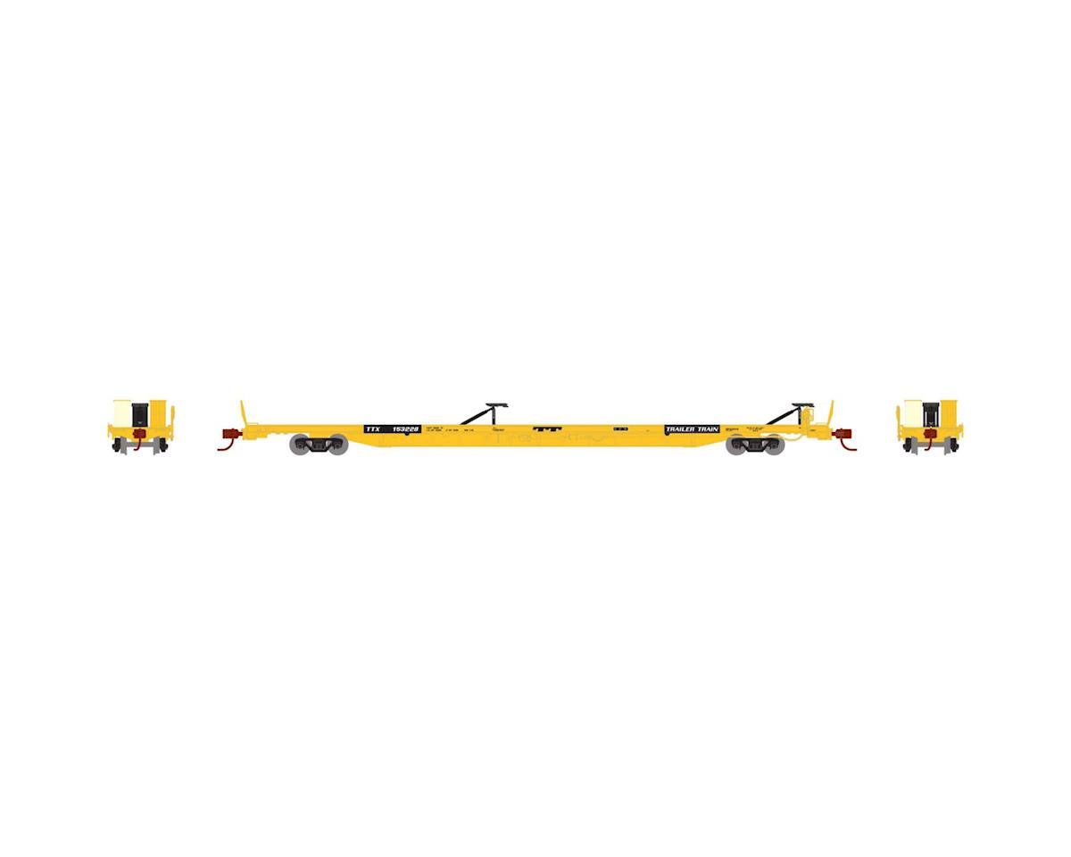 """Athearn N F89-F89'8"""" TOFC Flat Car, TTX/Yellow #153228"""