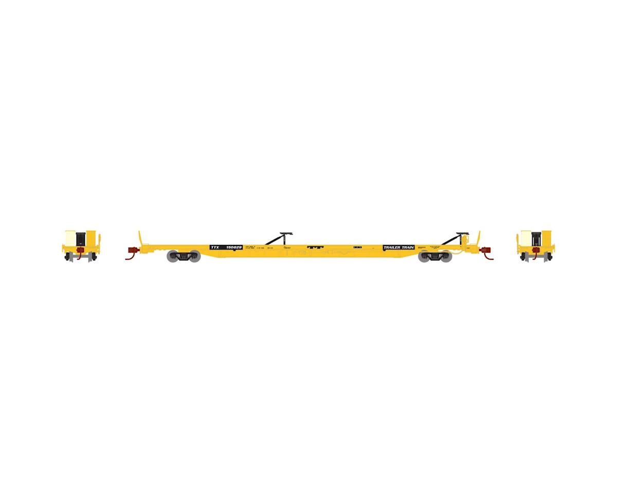 "Athearn N F89-F89'8"" TOFC Flat Car, TTX/Yellow #150629"