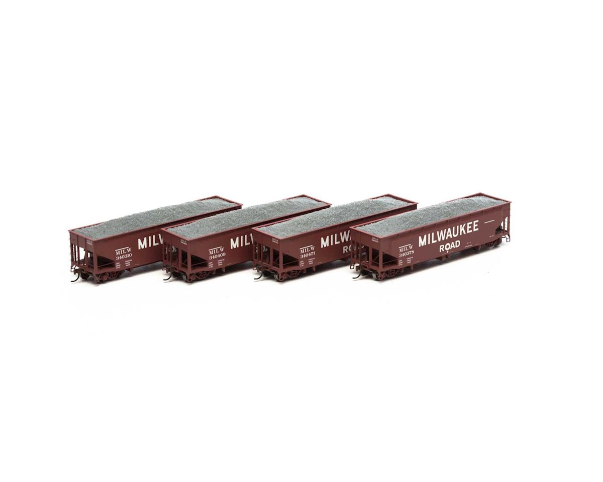 Athearn HO RTR 40' Offset Ballast Hopper/Load, MILW #1 (4)