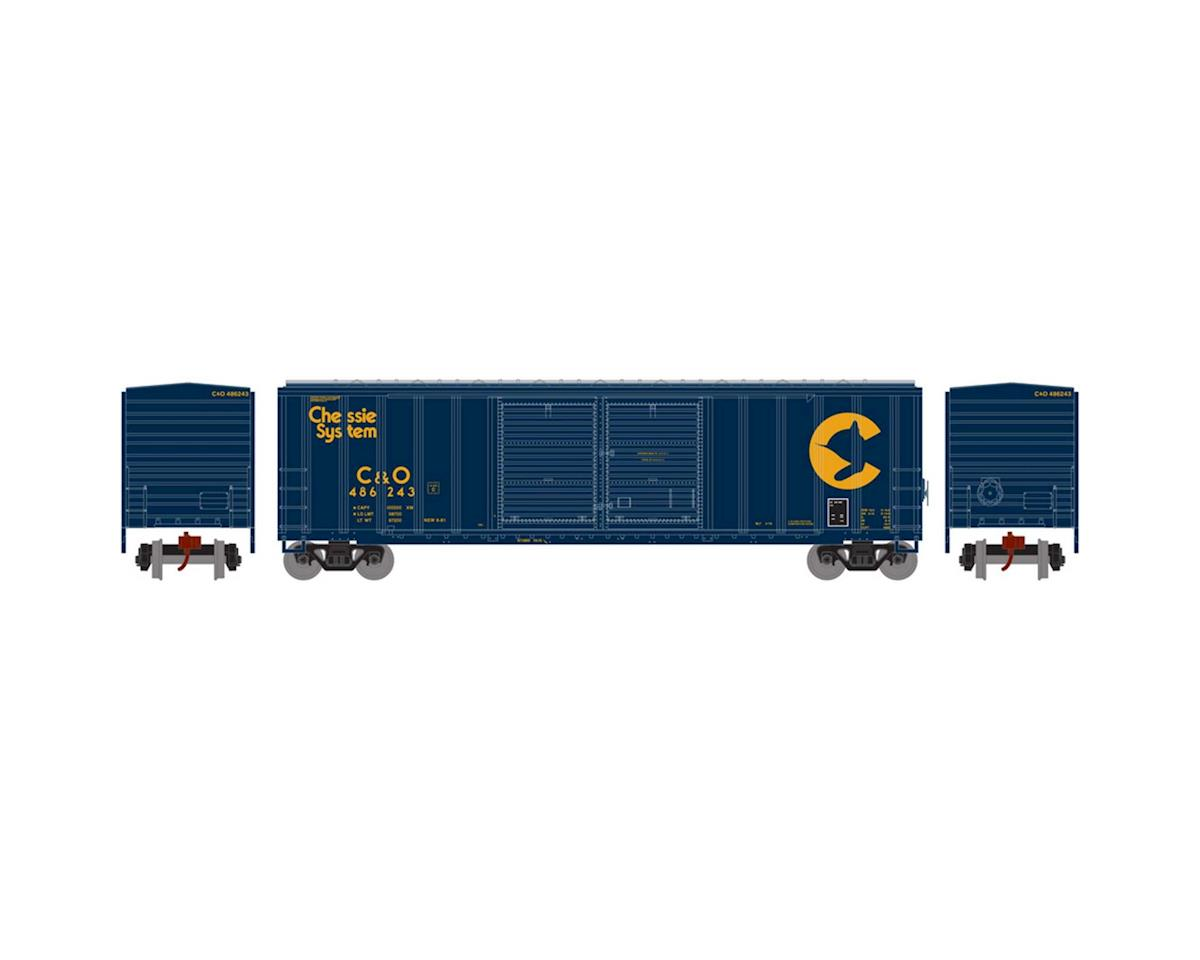 Athearn N 50' FMC Offset Double Door Box, C&O #486243