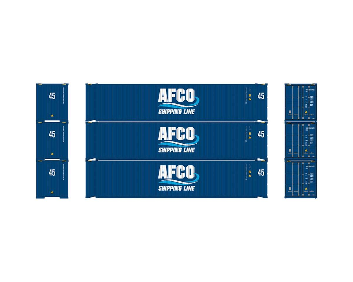 Athearn HO RTR 45' Container, AFCO/Shipping Line (3)
