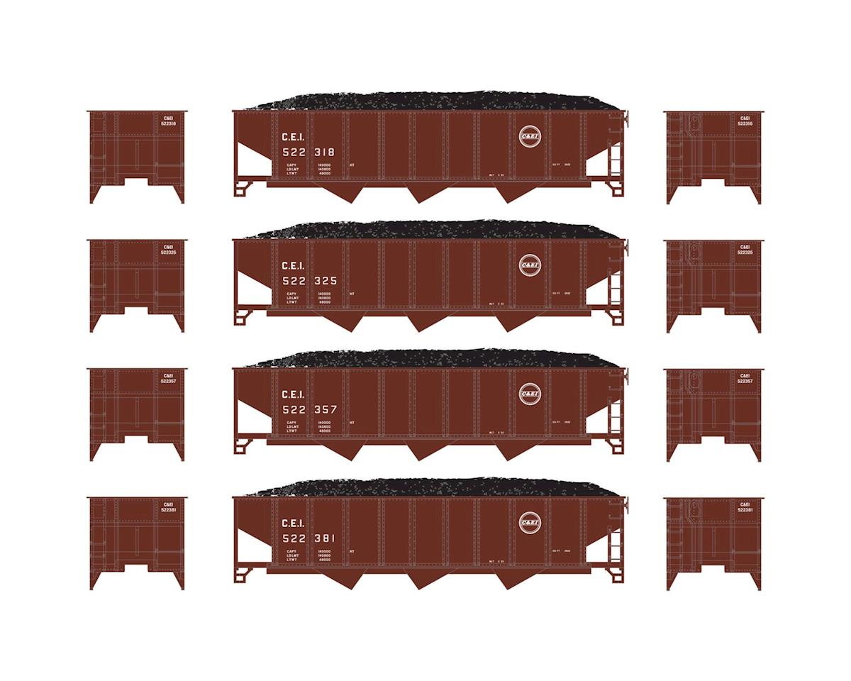 Athearn N 40' 3-Bay Ribbed Hopper w/Load, C&EI #1 (4)