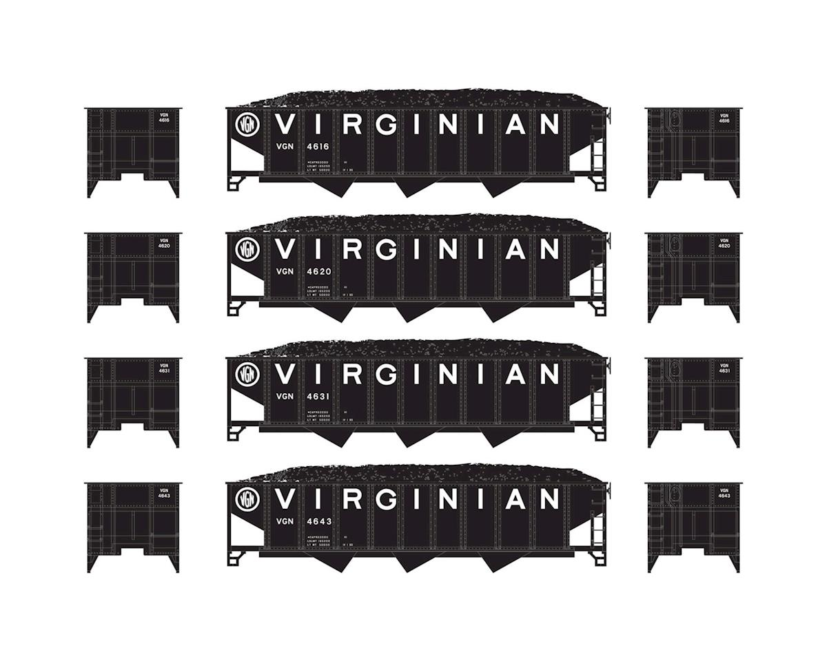 Athearn N 40' 3-Bay Ribbed Hopper w/Load, VGN #1 (4)