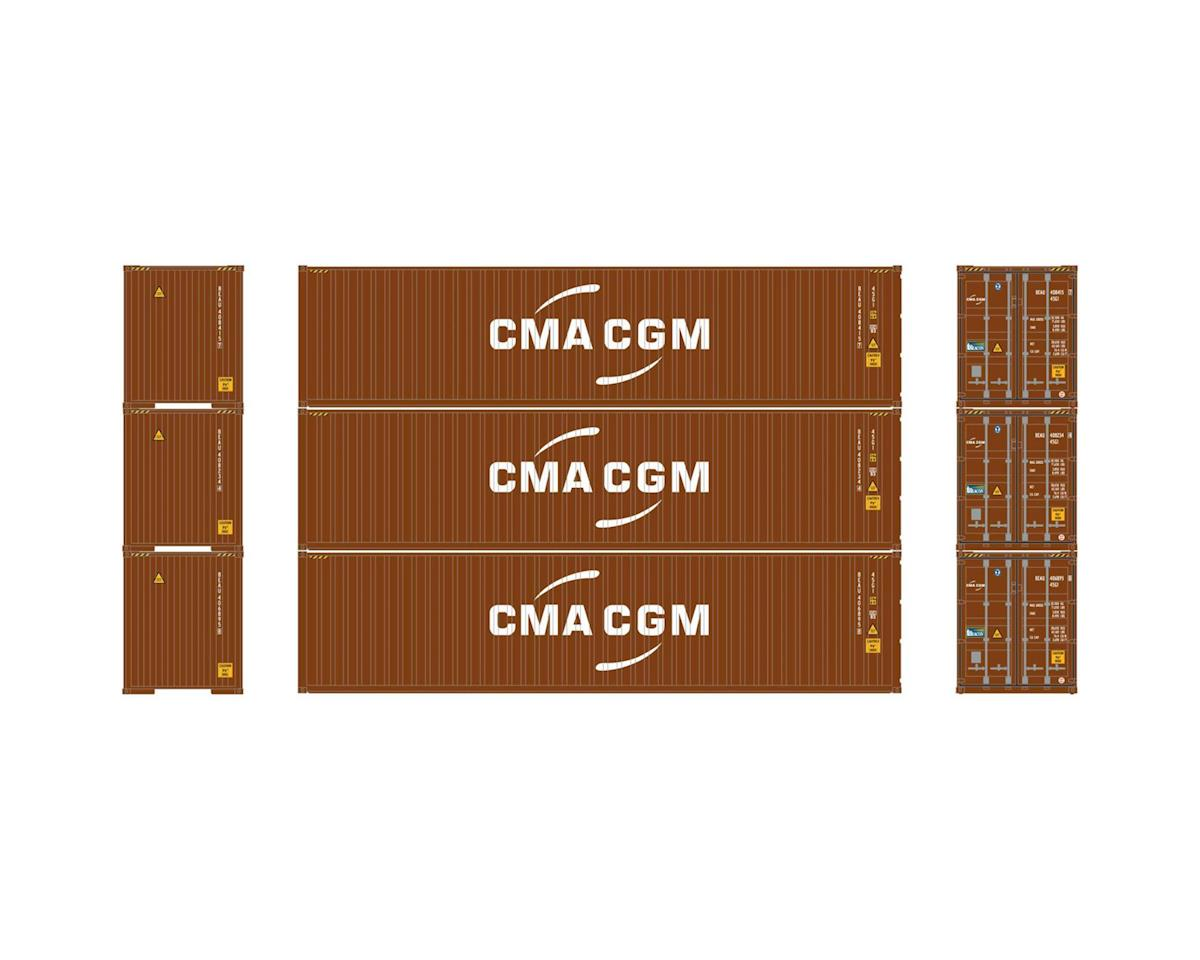 Athearn HO RTR 40' Hi-Cube Containers, CMA/CGM (3)