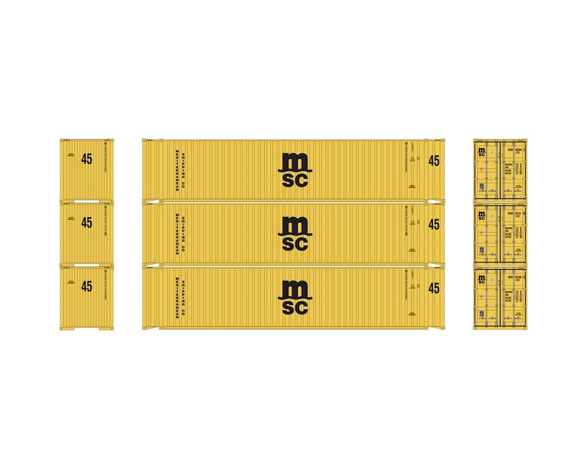 Athearn HO RTR 45' Container, MSC (3)