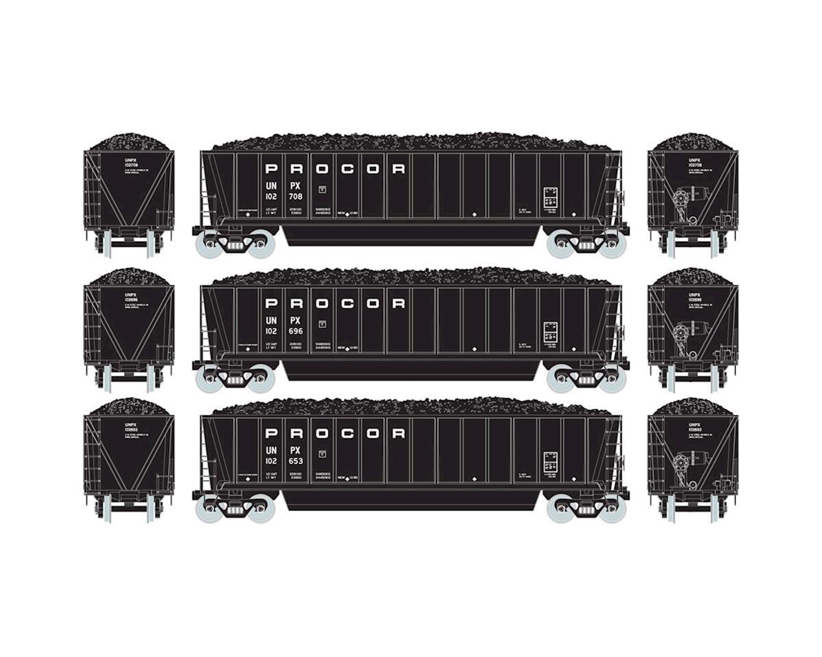 HO RTR Bathtub Gondola w/Coal Load, Procor #1 (3) by Athearn