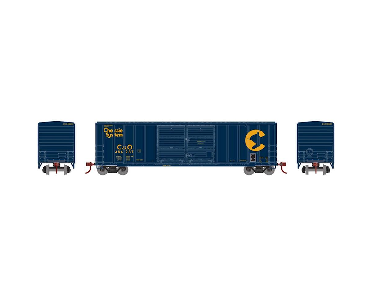 Athearn HO RTR 50' FMC Offset Double Door Box, C&O #486237