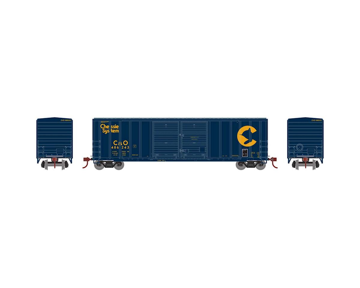 Athearn HO RTR 50' FMC Offset Double Door Box, C&O #486243