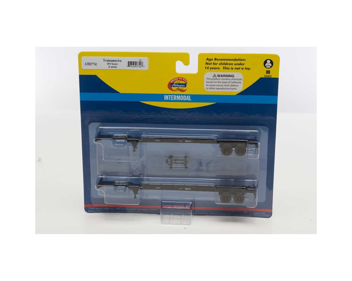 Athearn HO RTR 48' Container Chassis, Transamerica (2)